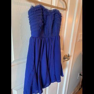 Strapless blue formal dress